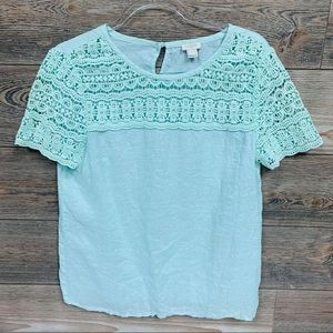 J.CREW Mint Linen And Lace Short Sleeve Tee